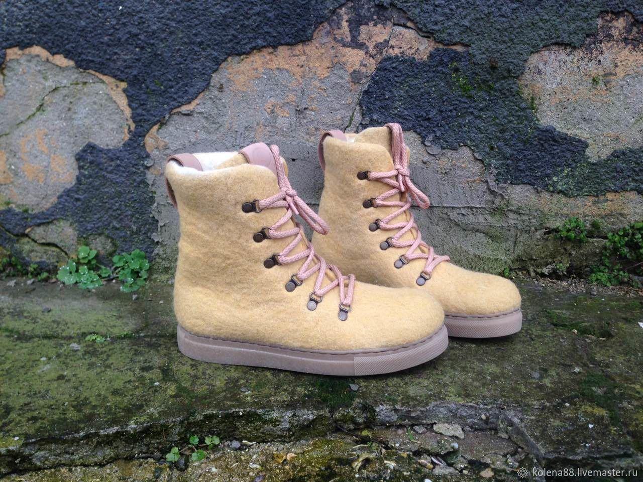0481ad4b9 Обувь ручной работы. Ярмарка Мастеров - ручная работа. Купить Валяные  ботинки ПЕСОЧНЫЙ БЕЖ.