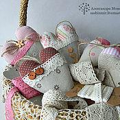"""Подарки к праздникам ручной работы. Ярмарка Мастеров - ручная работа Набор подвесок сердечек """"Лён"""". Handmade."""