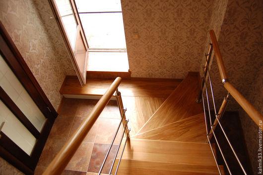 Элементы интерьера ручной работы. Ярмарка Мастеров - ручная работа. Купить Лестница комбинированная. Handmade. Коричневый, красивая лестница, эмаль