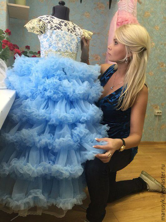 Одежда для девочек, ручной работы. Ярмарка Мастеров - ручная работа. Купить Платье Изабелла-люкс-аква. Handmade. Голубой