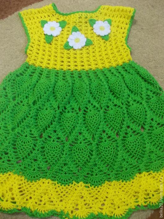 Одежда для девочек, ручной работы. Ярмарка Мастеров - ручная работа. Купить Платье Летнее. Handmade. Ярко-зелёный, платье летнее