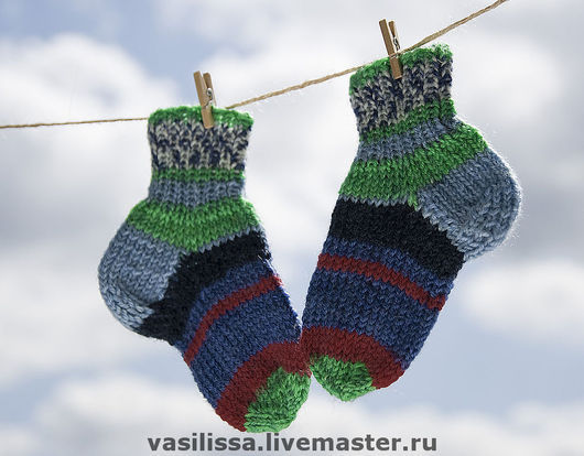 №1 Синие вязаные носки для малышей. Попова Елена Игоревна. Ярмарка мастеров