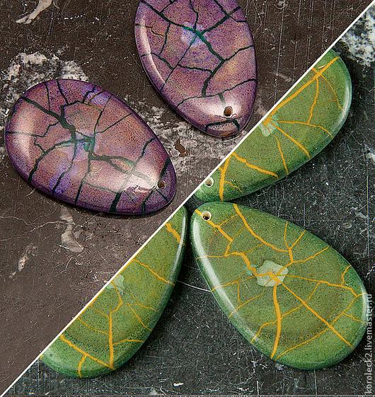 Для украшений ручной работы. Ярмарка Мастеров - ручная работа. Купить Овальные подвески из дерева Hambabalud, зеленые и фиолетовые. Handmade.
