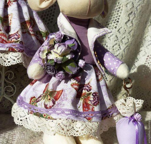 Куклы Тильды ручной работы. Ярмарка Мастеров - ручная работа. Купить Винтажная овечка. Handmade. Сиреневый, подарок на новый год, флис