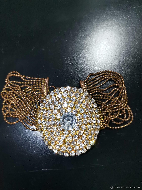 Vintage bracelet with rhinestones, Vintage bracelets, Moscow,  Фото №1