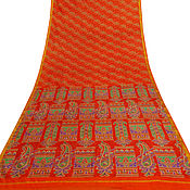 Материалы для валяния ручной работы. Ярмарка Мастеров - ручная работа Винтажное индийское сари из натурального шелка. Handmade.