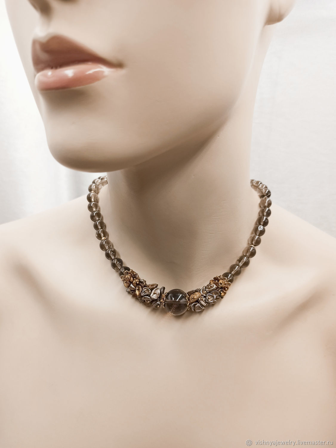 Necklace Silver GOLDEN CHESTNUT Rauchtopaz pearls Keshi Natural stones, Necklace, Moscow,  Фото №1