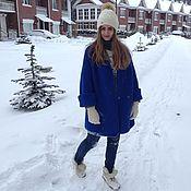 Одежда ручной работы. Ярмарка Мастеров - ручная работа Пальто вязаное цвет васильковый. Handmade.