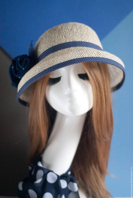 """Шляпы ручной работы. Ярмарка Мастеров - ручная работа. Купить """"Синие розы для Сьюзен"""". Handmade. Белый, лето, шифон"""