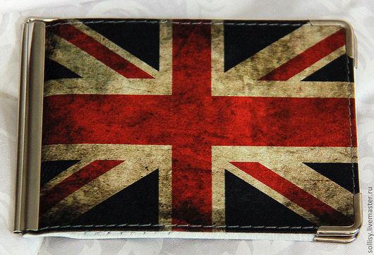 """Кошельки и визитницы ручной работы. Ярмарка Мастеров - ручная работа. Купить Зажим для денег """"Британский флаг"""" (кожа). Handmade. флаг"""