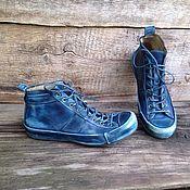 Обувь ручной работы. Ярмарка Мастеров - ручная работа Кожаные кеды MARLEY синие. Handmade.