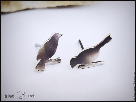 """Серьги ручной работы. Ярмарка Мастеров - ручная работа. Купить Серьги-гвоздики из серебра """"Утро"""" (серебро 925). Handmade. Серый"""