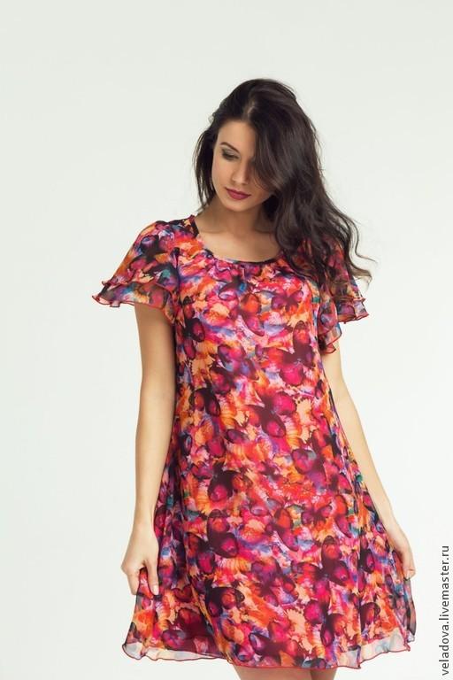 """Платья ручной работы. Ярмарка Мастеров - ручная работа. Купить Платье """"Бабочки"""". Handmade. Разноцветный, платье в бабочках, Платье из шелка"""