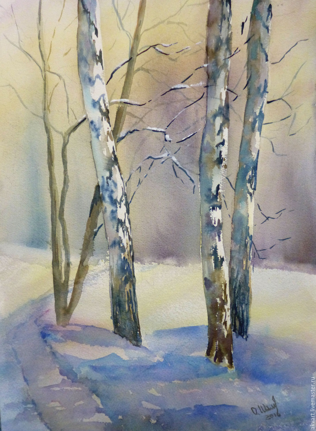 Painting with watercolors. Winter twilight, Pictures, Moscow,  Фото №1