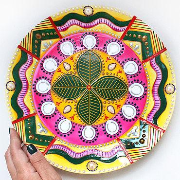 """Посуда ручной работы. Ярмарка Мастеров - ручная работа Мандала """"Денежный магнит"""" - декоративная тарелка на стену. Handmade."""