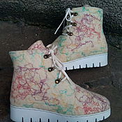 """Обувь ручной работы. Ярмарка Мастеров - ручная работа Валенки  ботинки  на зимней подошве """"Крем- брюле"""". Handmade."""