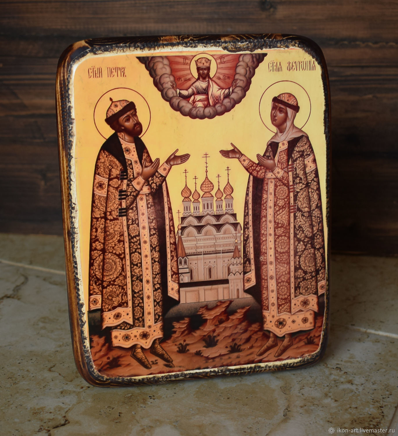 Wooden icon of Peter and Fevronia. Handmade. Size 16*21 cm. Wood, canvas, gesso, varnish, polishing.