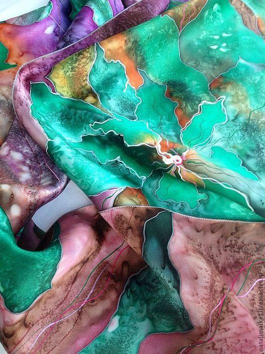 """Шарфы и шарфики ручной работы. Ярмарка Мастеров - ручная работа. Купить Шарф """"Уральские самоцветы"""" батик. Handmade. Тёмно-зелёный"""