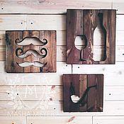 Картины и панно handmade. Livemaster - original item Moustache pipe and wine wooden panel. Handmade.