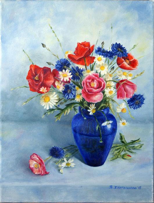 `Летний букет в синей вазе`Картина маслом, автор Желтышева Татьяна Валерьевна