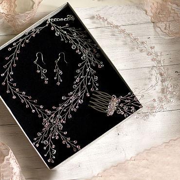Свадебный салон ручной работы. Ярмарка Мастеров - ручная работа Свадебный комплект - колье, серьги и гребень. Handmade.