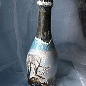 Подарки к праздникам handmade. Livemaster - original item decoupage champagne. Handmade.