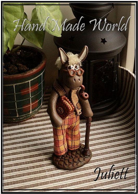 """Статуэтки ручной работы. Ярмарка Мастеров - ручная работа. Купить Фигурка """"Дедушка-ослик"""". Handmade. Ослик, статуэтка осла, в очках"""