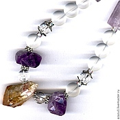 Подарки к праздникам handmade. Livemaster - original item Necklace from natural stones - amethyst, citrine, rock crystal. Handmade.
