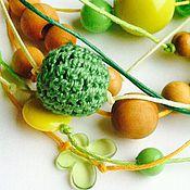 Одежда handmade. Livemaster - original item Slingobusy necklace on ribbons !Yellow-green corns!. Handmade.