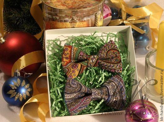 """Галстуки, бабочки ручной работы. Ярмарка Мастеров - ручная работа. Купить Галстук бабочка """"Дуэт"""" набор из 2 шт. Павловопосадский платок, хлопок. Handmade."""