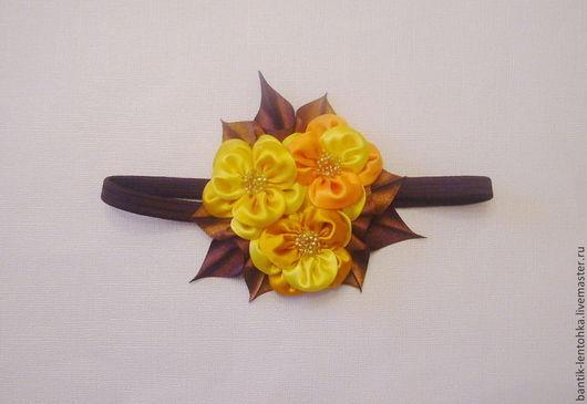 """Повязки ручной работы. Ярмарка Мастеров - ручная работа. Купить Повязка для волос """"Осенние цветы"""". Handmade. Желтый, осенняя повязочка"""