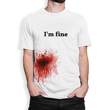 """Одежда ручной работы. Ярмарка Мастеров - ручная работа Футболка хлопковая """"I`m fine"""". Handmade."""