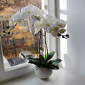 Цветы и флористика ручной работы. Ярмарка Мастеров - ручная работа Орхидея белая латекс. Handmade.