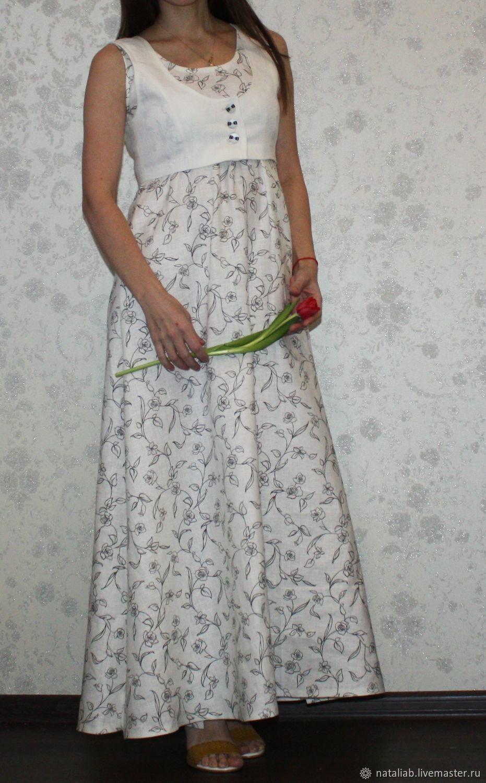 """Платья ручной работы. Ярмарка Мастеров - ручная работа. Купить Льняной комплект """"Дуэт"""". Handmade. Белый, платье летнее"""