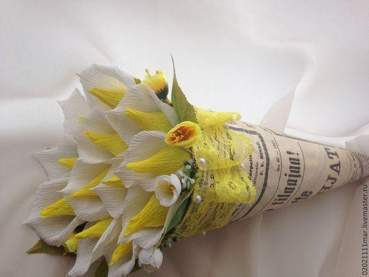 Букеты ручной работы. Ярмарка Мастеров - ручная работа. Купить Очаровательные каллы!!!. Handmade. Любимой, подарок, гофрированная бумага