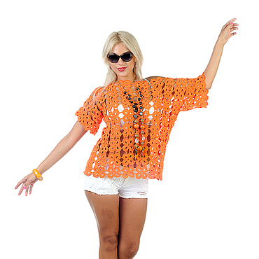 Одежда ручной работы. Ярмарка Мастеров - ручная работа Топ туника вязаная крючком оранжевого цвета - сезон весна лето. Handmade.