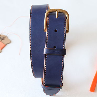 Accessories handmade. Livemaster - original item Genuine leather belt sewn by hand in blue.. Handmade.
