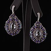 Украшения handmade. Livemaster - original item Purple Silver. Purple-silver-earrings Night in Las Vegas. Handmade.