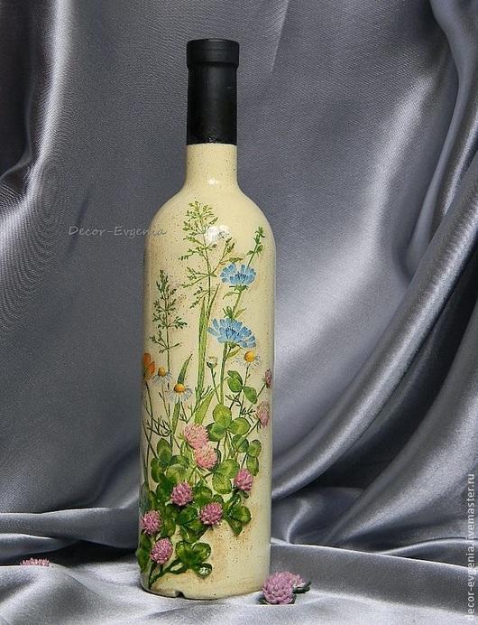 """Подарочное оформление бутылок ручной работы. Ярмарка Мастеров - ручная работа. Купить Подарочное оформление бутылки """"Летнее утро"""". Handmade."""
