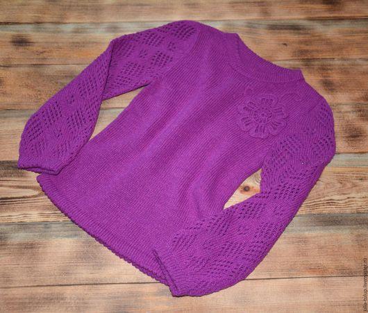 Одежда для девочек, ручной работы. Ярмарка Мастеров - ручная работа. Купить Джемпер для девочки с ажурными рукавами. Handmade. Фуксия, для девочек