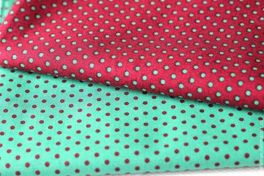 Шитье ручной работы. Ярмарка Мастеров - ручная работа. Купить Набор тканей Горошек Зеленый-Каштановый. Handmade. Ткань для рукоделия