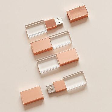 Дизайн и реклама ручной работы. Ярмарка Мастеров - ручная работа 16Гб Флешки стекло-розове золото USB 2.0. Handmade.