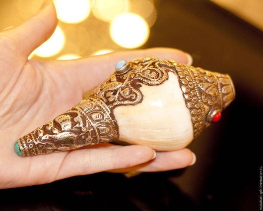 Винтажные сувениры. Ярмарка Мастеров - ручная работа. Купить Конх. Ракушка. ритуальная. Handmade. Ракушка, тибетское серебро