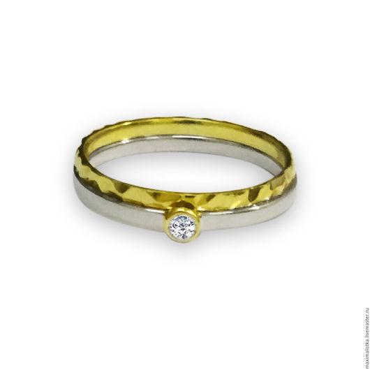 """Кольца ручной работы. Ярмарка Мастеров - ручная работа. Купить Кольцо """"Amore Mia"""" с бриллиантом из золота, обручальное, помолвочное. Handmade."""