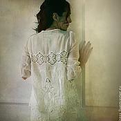 Одежда ручной работы. Ярмарка Мастеров - ручная работа Туника белая вышитая из шелка. Handmade.