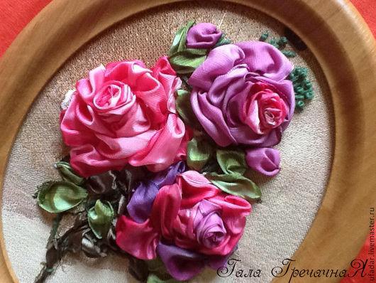 """Картины цветов ручной работы. Ярмарка Мастеров - ручная работа. Купить Картина, вышитая лентами,  """"Роза души"""". Handmade. Розовый"""
