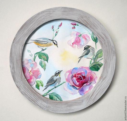 Картины цветов ручной работы. Ярмарка Мастеров - ручная работа. Купить Акварель Птицы и розы в деревянной раме.. Handmade. Комбинированный