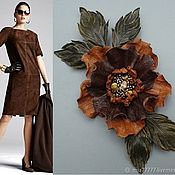 Украшения handmade. Livemaster - original item BOHO flower brooch, ornament from genuine leather. Handmade.
