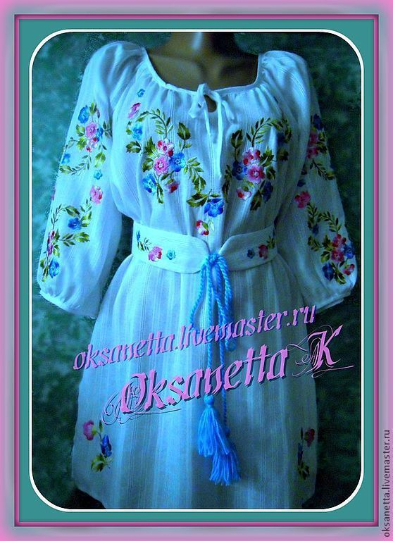 Tunic-embroidered summer 'forget-me-nots', Blouses, Zaporozhye,  Фото №1