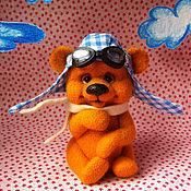 Куклы и игрушки ручной работы. Ярмарка Мастеров - ручная работа Мишка валяный Гриша- летчик. Handmade.